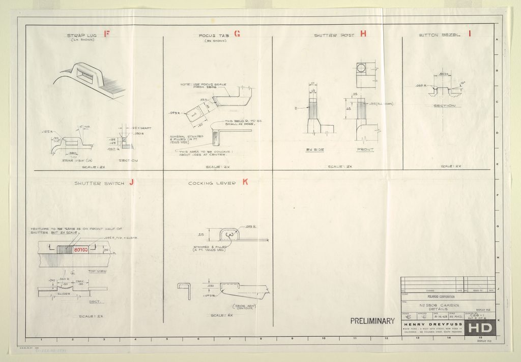 Drawing, #5808 camera, for Polaroid, August 16, 1963