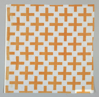 "Sheer white plain weave printed with orange ""plus"" signs. No number."
