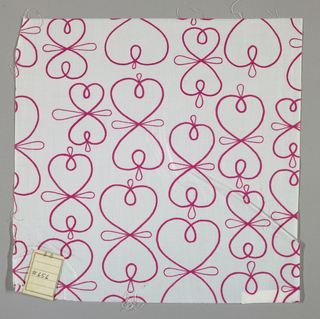 "White plain weave printed with a line pattern of intersecting ""figure eights"" in magenta."