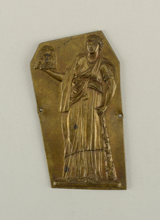 Irregular polygon with repoussé figure of a woman in classical dress holding the severed head of a bearded man.