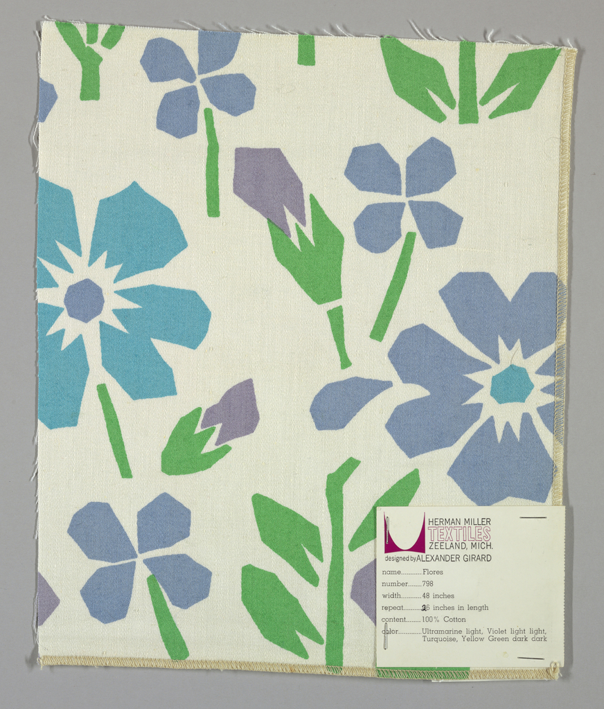 White plain weave printed with an abstract floral pattern in green (green dark dark), turquoise, light blue (ultramarine light) and violet (violet light light). Number 798.