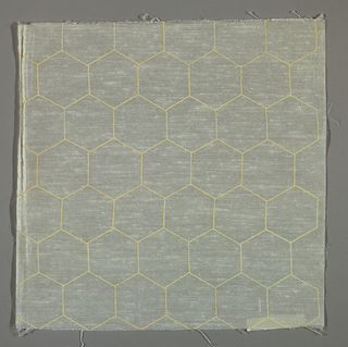 White plain weave printed with an outline pattern of off-white hexagons.