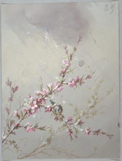 Three branches oriented diagonally, upwards to the right,  with foliage and pink flowers on gray ground with flecks of white, representing snow. Bluebird facing viewer rests on central branch.