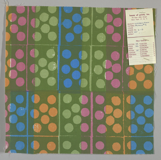 White plain weave hand printed in a pattern of rectangles and circles in light green, dark green, blue, magenta and orange. Color no. 2d