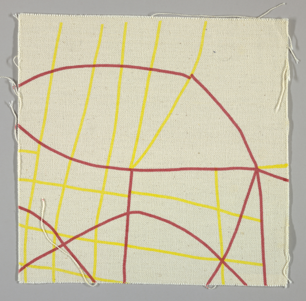 Coarse white plain weave printed with a yellow and red pattern of intersecting lines and curves.