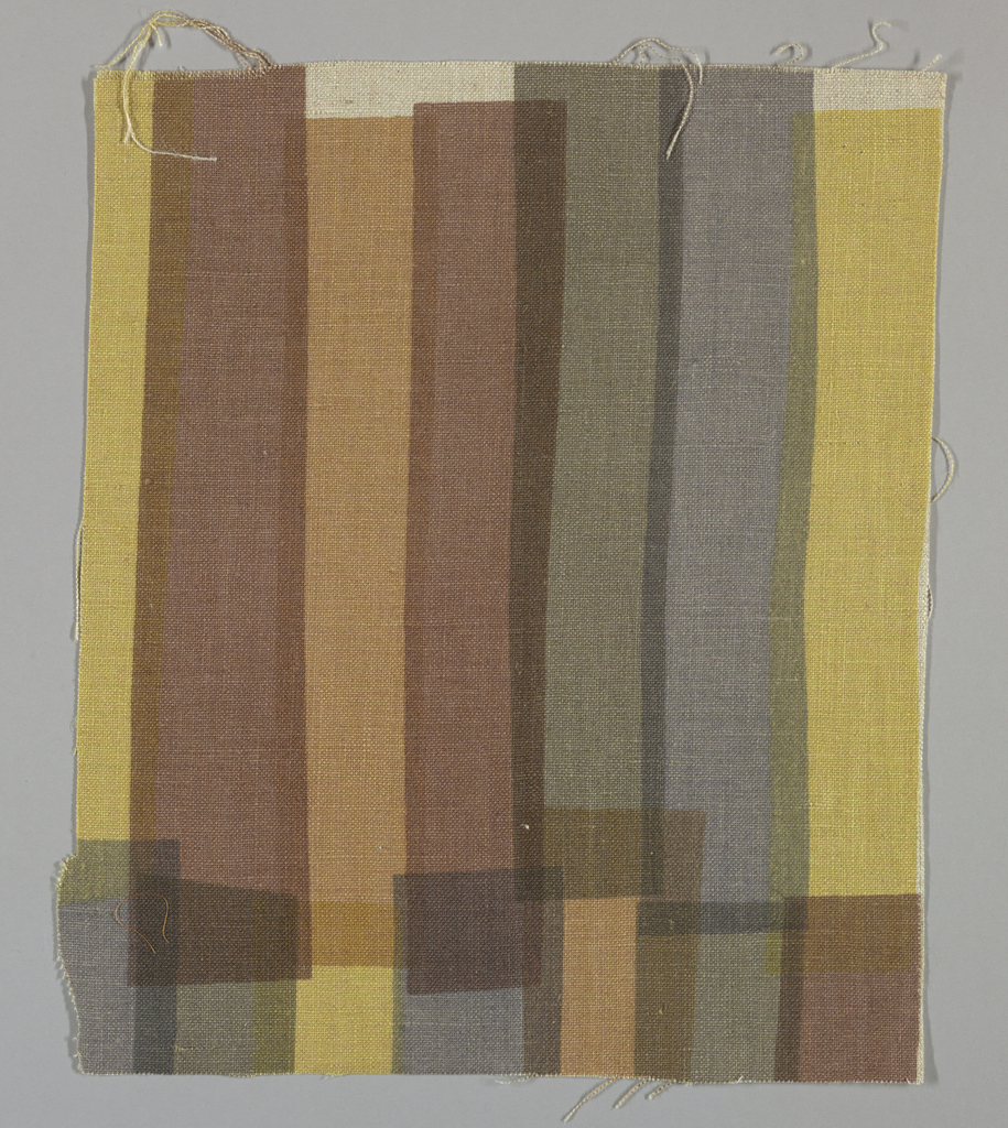 Light brown plain weave printed with overlapping vertical bands in dark yellow, grey, red-brown, tan and grey-green. No number.