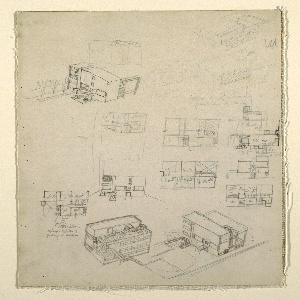 Various working sketches scattered over page.  Floor plans at center and lower left; one elevation at center, left; two exterior aerial perspectives above, two exterior aerial perspectives below, plus additional notations.