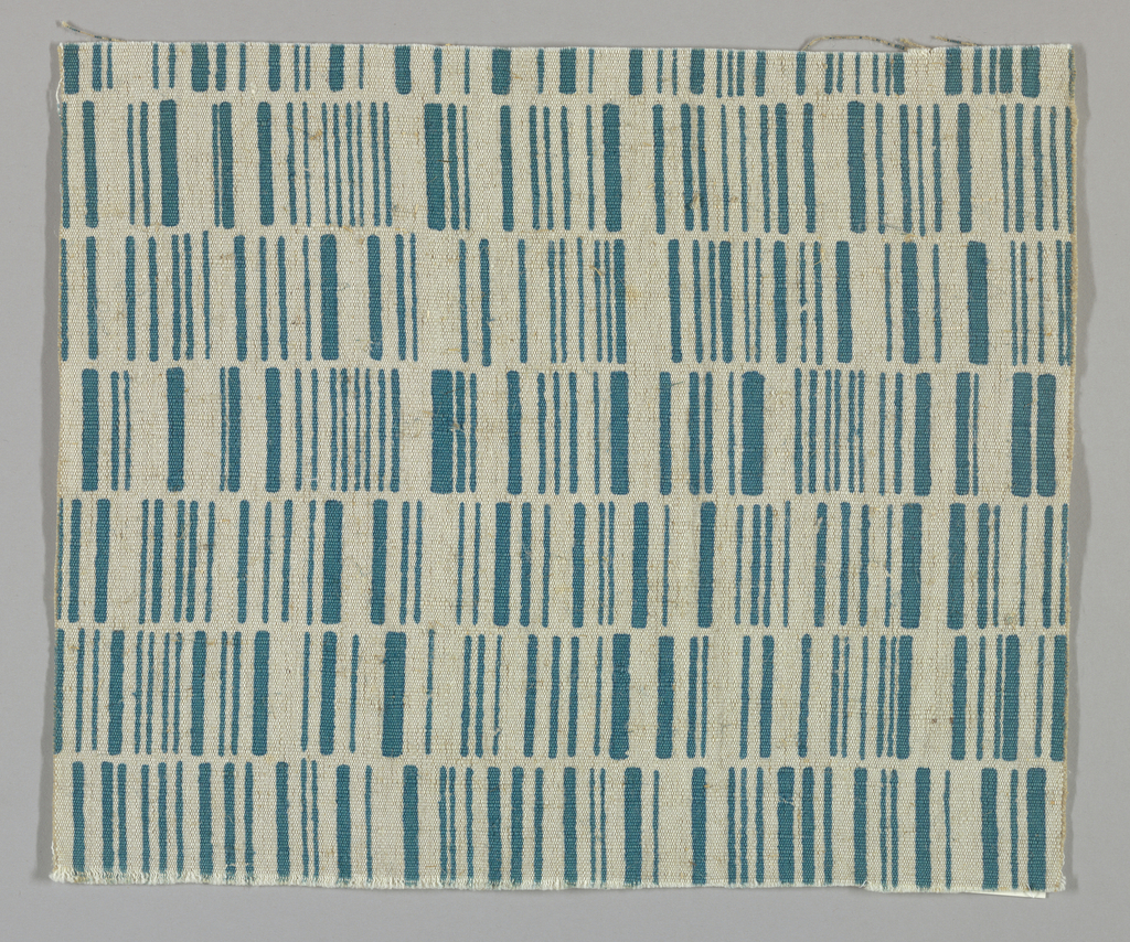 Light brown plain weave printed with rows of vertical lines in turquoise. No number.