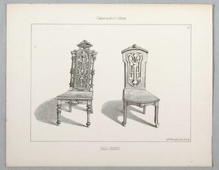 """Print, Monthly Cabinet Makers Album: """"Hall Chairs"""", 1859"""