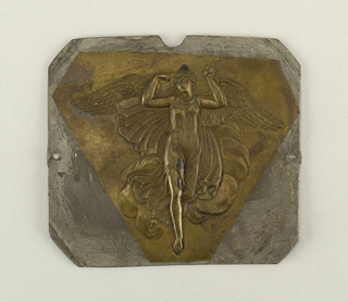 Square. Triangular plate of brass, with repoussé figure of Nike and cloud, surrounded by plain flat zinc.