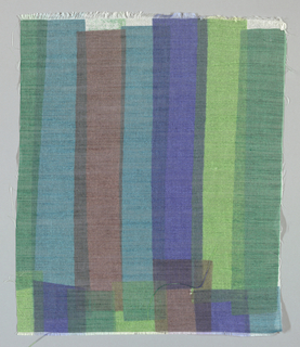 Sheer white plain weave printed with overlapping vertical bands in dark green, light green, turquoise, blue and red-brown. No number.