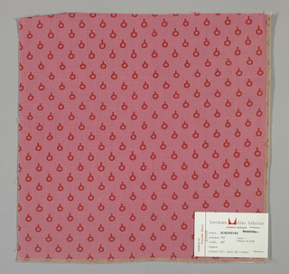 "Pink plain weave printed with a red ""screw eye"" pattern consisting of a circle capped by a short vertical line."