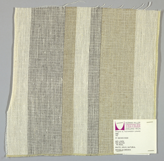 Plain weave in vertical stripes of white, beige and black.