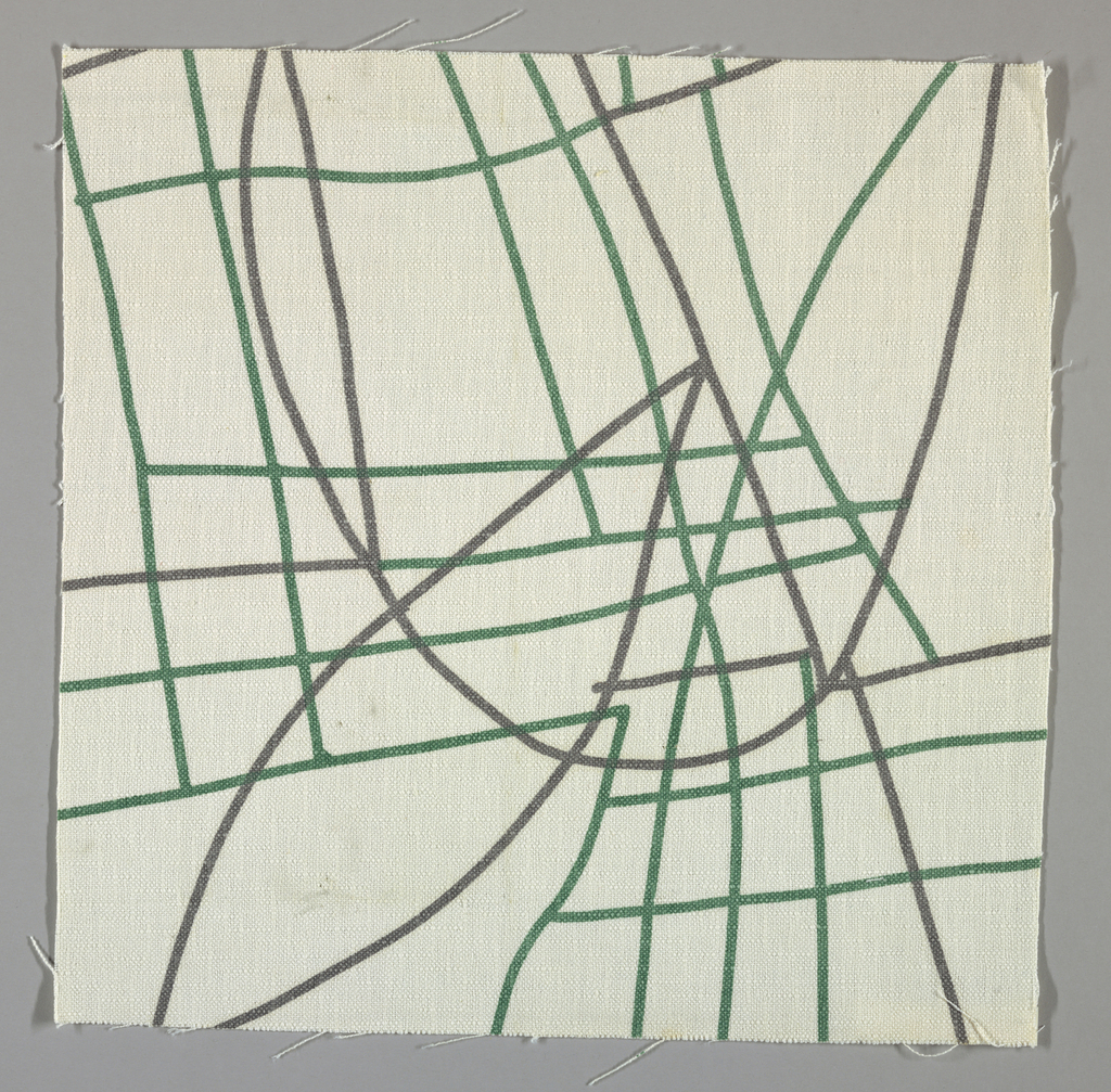 White plain weave printed with a grey and green pattern of intersecting lines and curves.