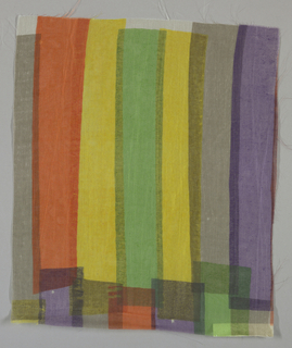 Sheer white plain weave printed with overlapping vertical bands in violet, grey, yellow, green and orange. No number.