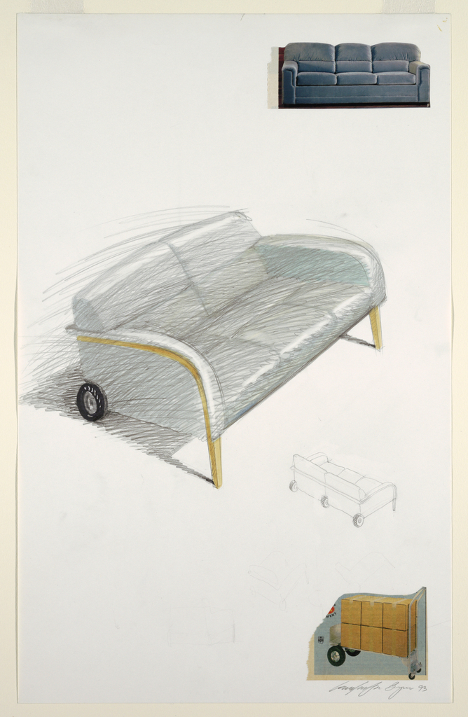 At center, a design for a gray upholstered sofa with upholstered, wooden arms curving to front legs; at back base corner, a rubber wheel.  To lower right of this main, central image: small outline sketch showing back view of sofa with three wheels along the base.  Two colored illustrations, taken from Sears Roebuck catalog, depict gray sofa ( glued to sheet at upper right) and trolley laden with cardboard boxes (glued to sheet at lower right), show the designer's inspiration for  this rolling sofa design.