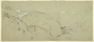 Drawing, Panoramic view from Bel Arp, 1868