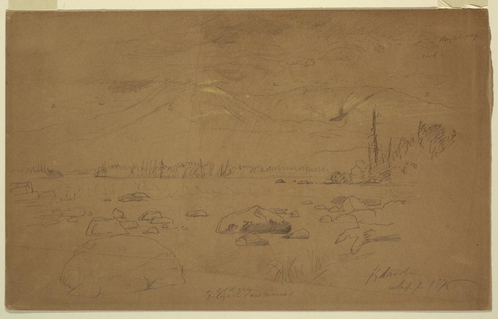 Drawing, Mts. Katahdin and Turner, 1876