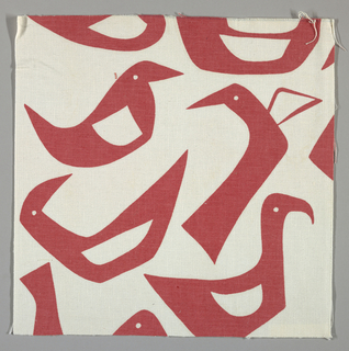 White plain weave printed with a red abstract bird pattern.