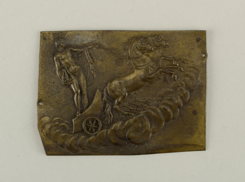Figure of Apollo holding a lyre in his right hand and with the left holding reins of two horses that draw the semi-crescent wheeled chariot. Across bottom, curved lines of clouds. On chariot, the initials FD.