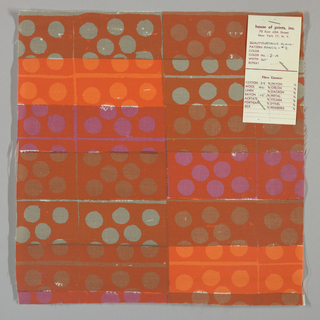 White plain weave hand printed in a pattern of rectangles and circles in grey, orange, violet, light brown and crimson.