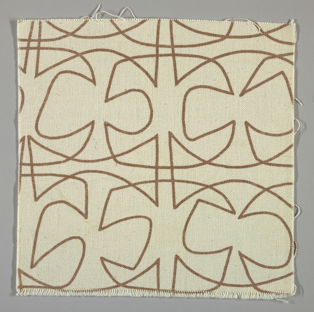 White plain weave printed with a light brown abstract line pattern.