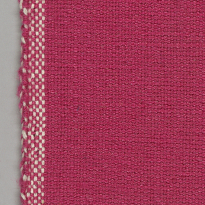 Plain weave with pink warp and weft. Heavy nylon yarns give a coarse surface texture.