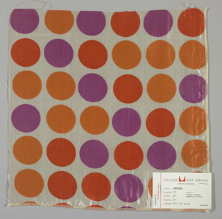 Sheer white plain weave printed with circles in red-orange, orange and violet. Number 571.