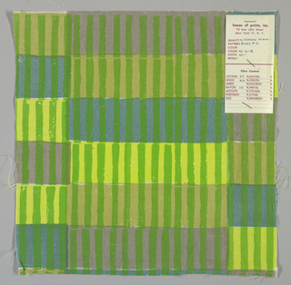 White plain weave hand printed with horizontal bands of olive green, turquoise, yellow and grey intersected by vertical green bars. Color no. 6b