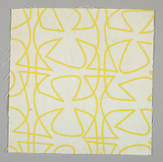 White plain weave printed with a yellow abstract line pattern.