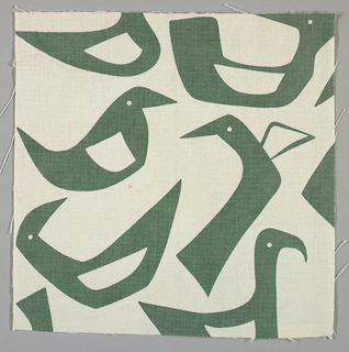 White plain weave printed with a green abstract bird pattern.