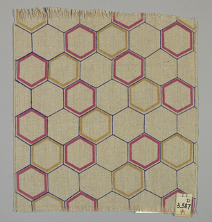 Light brown plain weave printed with an outline pattern of blue, magenta and tan hexagons. Magenta and tan hexagons are printed in diagonal bands.
