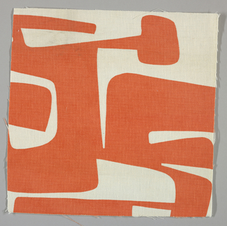 White plain weave printed with an orange abstract design.