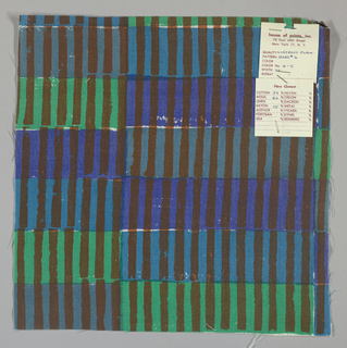 White plain weave hand printed with horizontal bands of violet, green, blue-grey and turquoise intersected by vertical brown bars. Color no. 6c