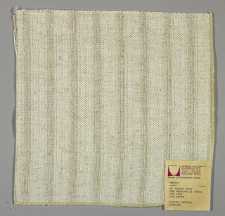 Plain and gauze weave in white and beige. Warp is comprised of fine white threads and heavier beige yarns. Beige yarns give a vertical stripe effects. Weft is comprised of fine beige threads.