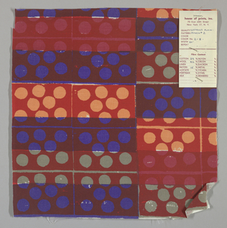White plain weave hand printed in a pattern of rectangles and circles in red, blue, pale orange, magenta and grey. Color no. 2b
