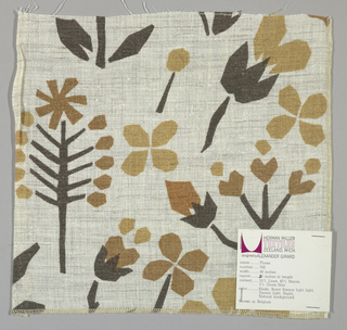 White textured plain weave printed with an abstract floral pattern in brown-black, brown, light brown and tan. (Khaki, burnt sienna light light, sienna light, sepia on natural background) number 792.