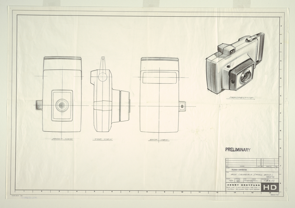 Drawing, Box camera, roll back, for Polaroid, October 23, 1963