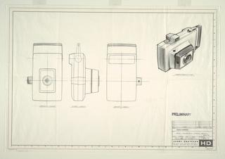 Drawing, Box camera, roll back, for Polaroid