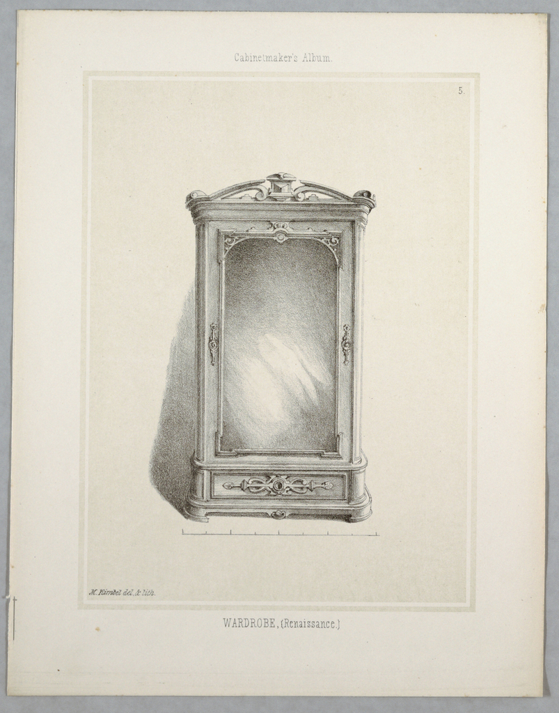 Print, Monthly Cabinet Makers Album: Wardrobe, 1859