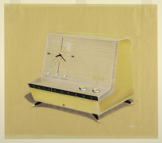 """Perspective rendering of General Electric """"L""""-shaped """"Musiphonic"""" clock radio with yellow case, black linear dial, four pointed brass-capped legs.  Clock with three knobs on left side of case upper, featuring only a """"9"""" and """"3"""" for the clock dial.  GE symbol on lower, center part of case, flanked by the words """"General"""" and """"Electric.""""  Tuning and volume knobs on right-hand horizontal section of cabinet/grill enclosure for speaker."""