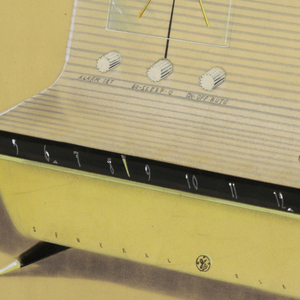 "Perspective rendering of General Electric ""L""-shaped ""Musiphonic"" clock radio with yellow case, black linear dial, four pointed brass-capped legs.  Clock with three knobs on left side of case upper, featuring only a ""9"" and ""3"" for the clock dial.  GE symbol on lower, center part of case, flanked by the words ""General"" and ""Electric.""  Tuning and volume knobs on right-hand horizontal section of cabinet/grill enclosure for speaker."