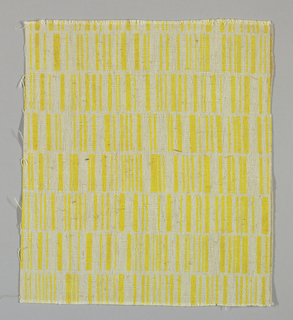 Light brown plain weave printed with rows of vertical lines in yellow. No number.