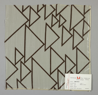 Sheer white plain weave printed with triangles in an outline pattern of dark brown. Number 591.