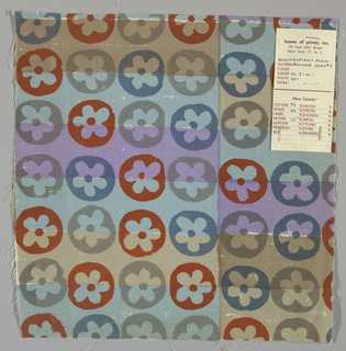 White plain weave hand printed with horizontal bands of beige, light brown, light violet and light blue overprinted with a flower pattern in grey, dark orange and blue-violet. Color no. 7h