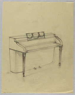 Drawing, Piano with swag detail on
