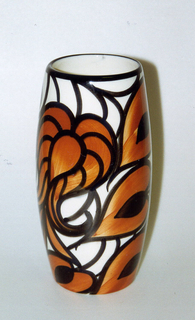 Vertical cylindrical shape, wider in the middle and narrowing at the top and bottom.  Cream background with black line on the top edge.  Surface pattern of sinuous black vines with leave and large flowers in black and orange.
