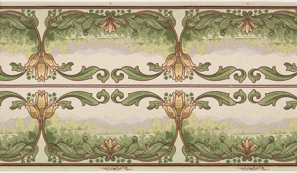 Landscape frieze in the Mission style. View of mountains and lake seen through a foliate swag framework, with large-scale flower joining the swags. Printed two across.