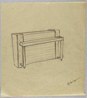 Drawing, Piano with unified front