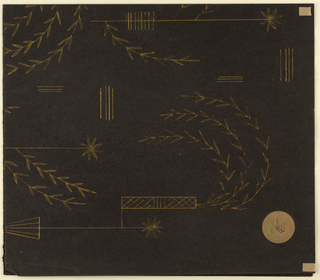 Drawing, Textile Design: Goldstickerei (Gold Embroidery)
